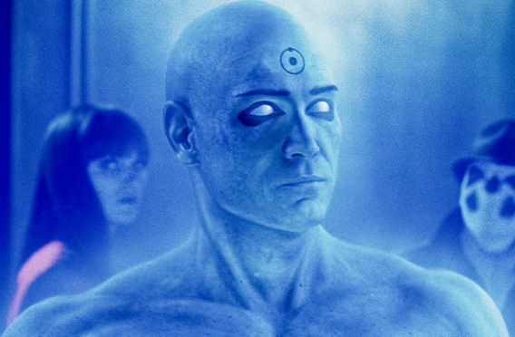 """MALIN AKERMAN as Laurie Juspeczyk (left, in background), BILLY CRUDUP as Dr. Manhattan and JACKIE EARLE HALEY as Rorschach (right, in background) in Warner Bros. Pictures', Paramount Pictures' and Legendary Pictures' action adventure """"Watchmen,"""" distributed by Warner Bros. Pictures. PHOTOGRAPHS TO BE USED SOLELY FOR ADVERTISING, PROMOTION, PUBLICITY OR REVIEWS OF THIS SPECIFIC MOTION PICTURE AND TO REMAIN THE PROPERTY OF THE STUDIO. NOT FOR SALE OR REDISTRIBUTION."""